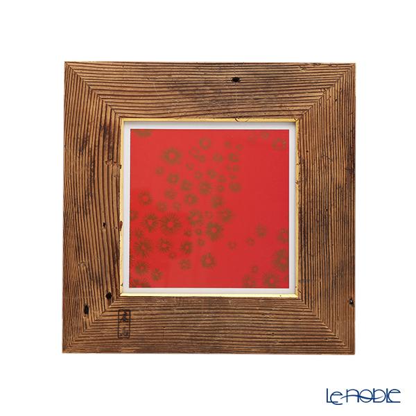 【1点物】高野竹工 金閣寺古材 額縁フレーム/アートフレーム 小-A 十牛図版画付 27×27cm