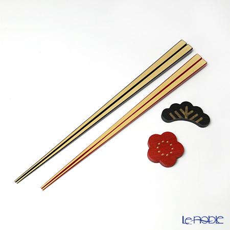 高野竹工 松竹梅 箸 ペア 24cm/22.5cm 箸置付