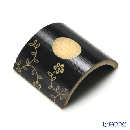 Takano Chikko / Bamboo Craft 'Hana (Flower)' Black Chopstick Rest (set of 5 patterns)