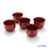 Wajima Lacquerware 'Tsubaki / Camellia Flower' Red Bowl 11.5cm (set of 5)