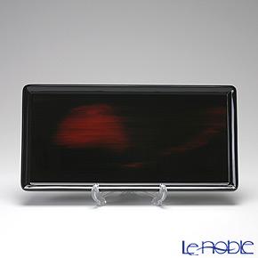 Japanese Lacquerware (Wajima) Akebono Nuri Red&Black Tray 18 x 36.5 cm