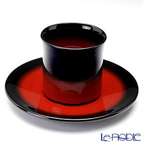 Japanese Lacquerware (Wajima) Akebono Nuri Red&Black Cup and Saucer
