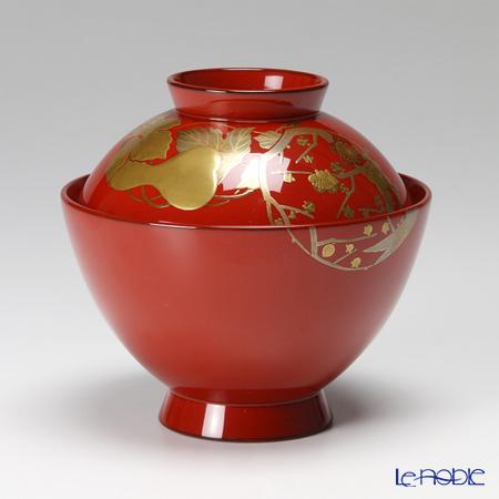 【伝統工芸】輪島塗 花の丸蒔絵飯椀(朱)