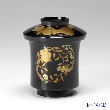 【伝統工芸】輪島塗 花の丸蒔絵 小吸物椀