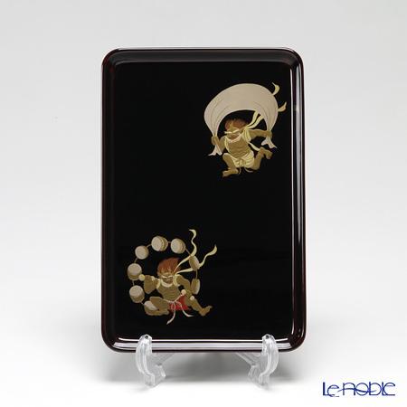 【伝統工芸】輪島塗 切手盆(祝儀盆) 溜塗 風神雷神(大)