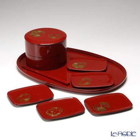 【伝統工芸】輪島塗 花の丸蒔絵 おもてなしセット 赤