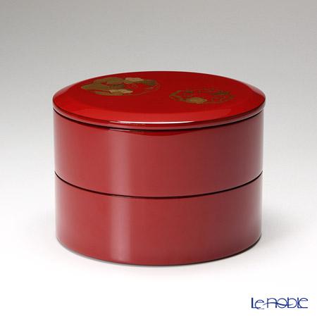 【伝統工芸】輪島塗 花の丸蒔絵丸重2段 赤