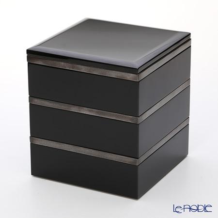 Wajima Lacquerware 'Black & Silver rim' 3 Tier Ju-bako / Square Food Box