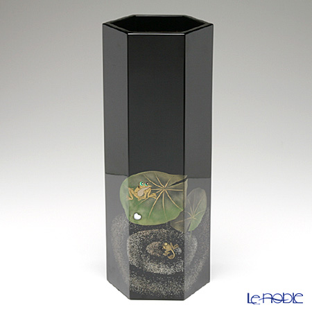 Japanese Lacquerware (Wajima) Gold-relief Lucky Frog Hexagonal Vase 14x12x35cmH