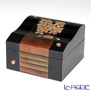 Japanese Lacquerware (Wajima) Gold-relief Sakura Jewel Box 10x10x7cm