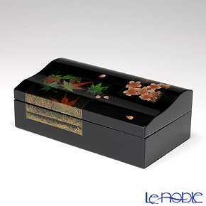Japanese Lacquerware (Wajima) Gold-relief Sakura&Japanese Maple Jewel  Box 11x19.5x7cm