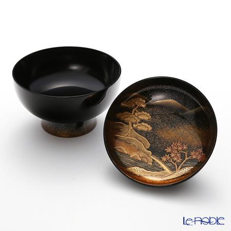 Japanese Lacquerware (Wajima) sansui Makie simmered soup Picture turns 5 align Yoshiki Matsuda film
