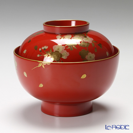 Wajima Lacquerware 'Syun-jyu / Cherry Blossom & Autumn Leaf (Maki-e)' Red & Black Soup Bowl with lid 12cm (set of 2 colors)