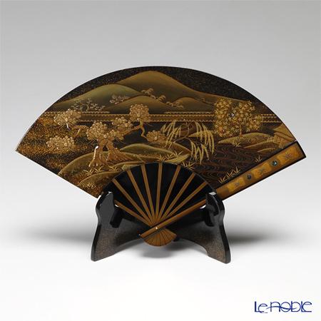 【伝統工芸】輪島塗 扇面型飾皿 山水