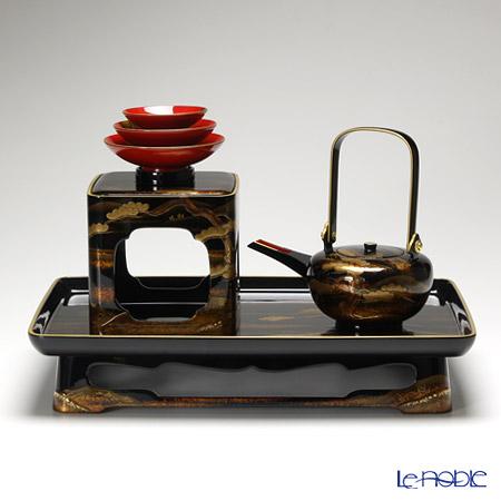 【伝統工芸】輪島塗 山水蒔絵 三ツ組 屠蘇(とそ)器