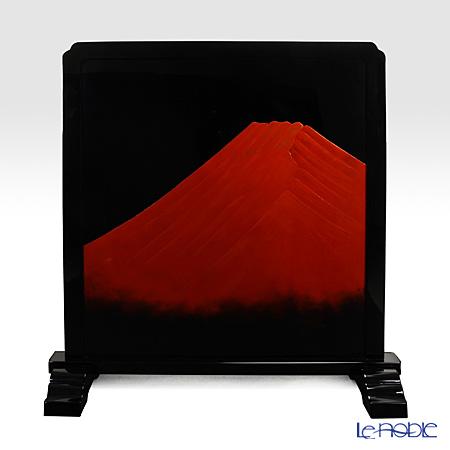 【伝統工芸】輪島塗 蒔絵師 谷内毅氏作 赤富士衝立 黒地に赤