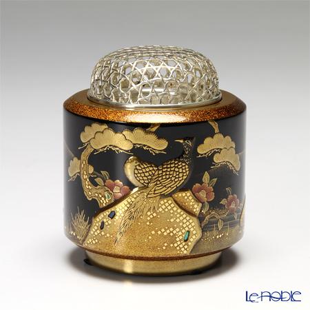 【伝統工芸】輪島塗 香炉 花鳥の図 山下満氏作