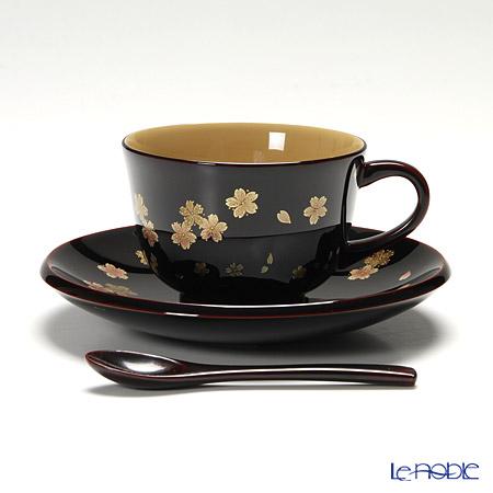 【伝統工芸】輪島塗 コーヒーカップ&ソーサー&スプーン 小花 桜 坂口政昭氏作