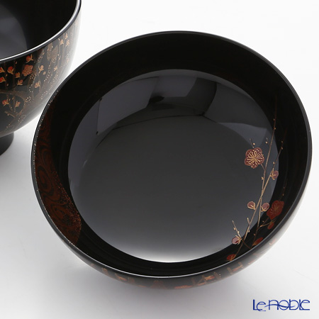 Japanese Lacquerware (Wajima) couple bowls 2 available Red and white plum urade Inabune works
