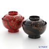 Wajima Lacquerware 'Red and White Plum Blossoms - Ogata Korin' Red & Black Soup Bowl with lid (set of 2 colors)