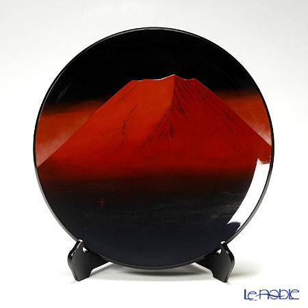 Japanese Lacquerware (Wajima), Picture plate Red Mount Fuji Mr. Yukihiro Yamazaki Works