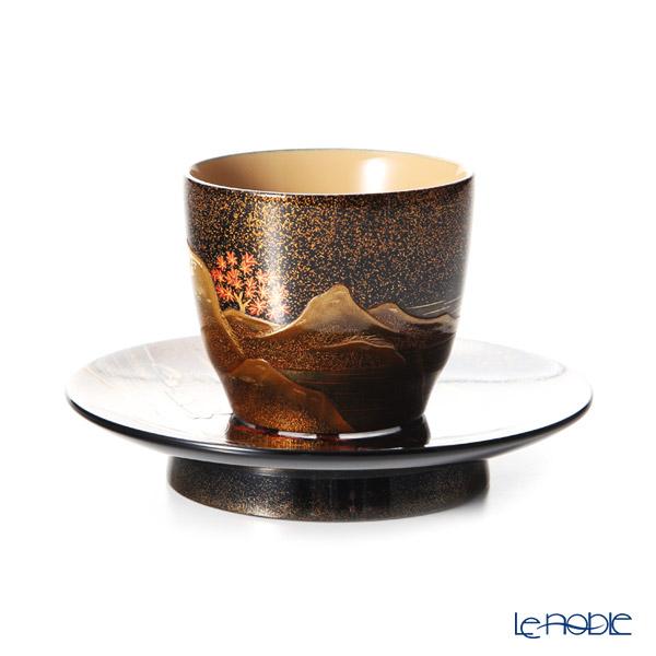 Wajima Lacquerware 'San Sui / Landscape - Autumn Leaf' Cup & Saucer