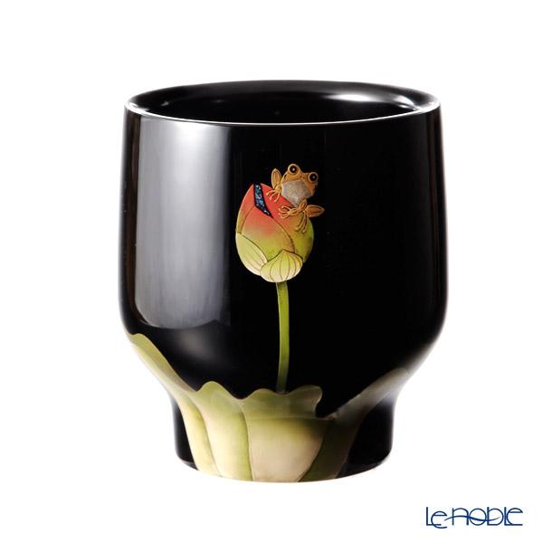 Wajima Lacquerware 'Lotus Flower with Frog' Vase H17.5cm