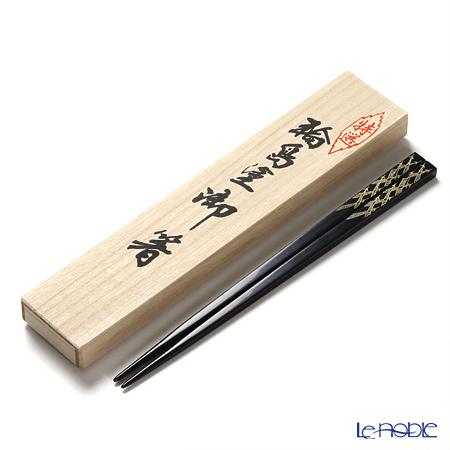 【伝統工芸】輪島塗 御箸 松葉 黒 24cm 【桐箱付】