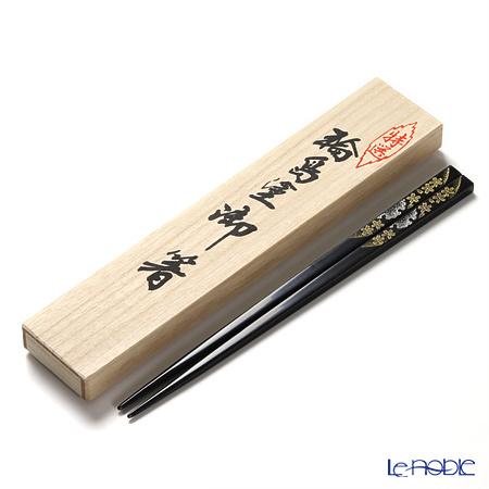 【伝統工芸】輪島塗 御箸 雪月花 黒 24cm 【桐箱付】
