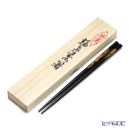 【伝統工芸】輪島塗 御箸 龍 黒 23cm