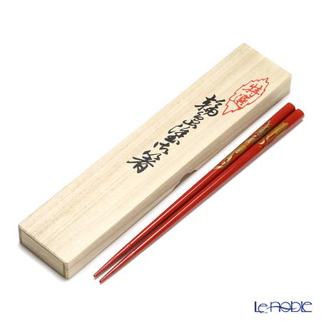 【伝統工芸】輪島塗 御箸 龍 赤 23cm