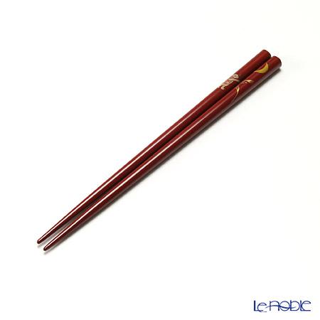 【伝統工芸】輪島塗 御箸 お月見 赤 21cm 手描き