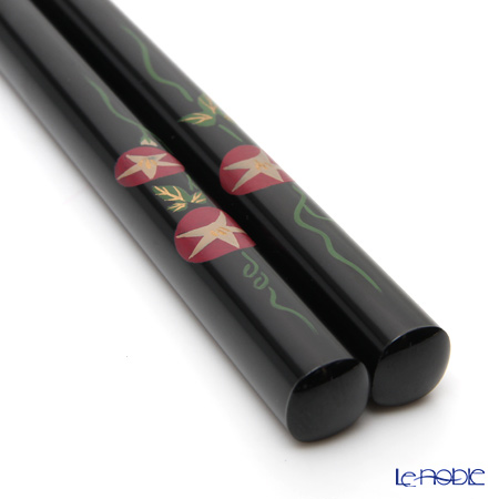 Wajima Lacquerware 'Morning Glory Flower' Black Chopsticks 22.5cm