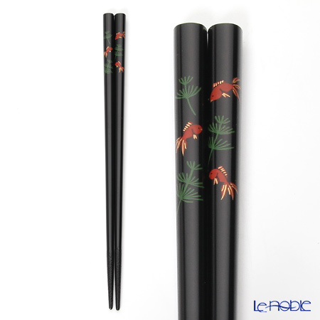 Japanese Lacquerware (Wajima) chopsticks and goldfish 22.5 cm black