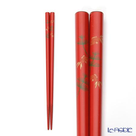 【伝統工芸】輪島塗 御箸 金魚 赤 21cm