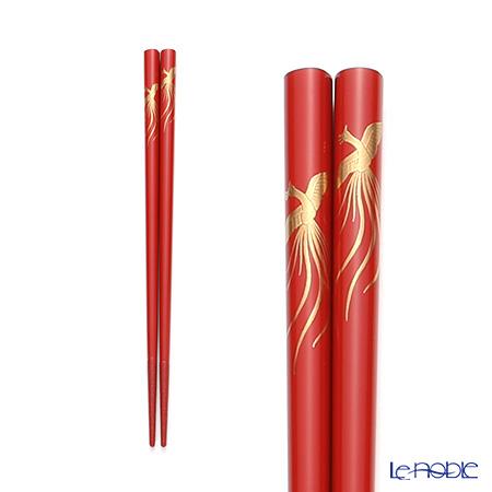 Wajima Lacquerware 'Phoenix (Maki-e)' Red Chopsticks 21cm