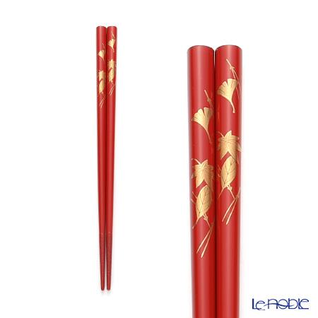 Wajima Lacquerware 'Fukiyose / Autumn Leaf (Maki-e)' Red Chopsticks 21cm