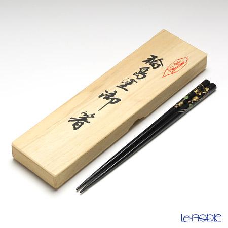 【伝統工芸】輪島塗 御箸 ハローキティ てまり蒔絵 黒 22.5cm 【桐箱付】