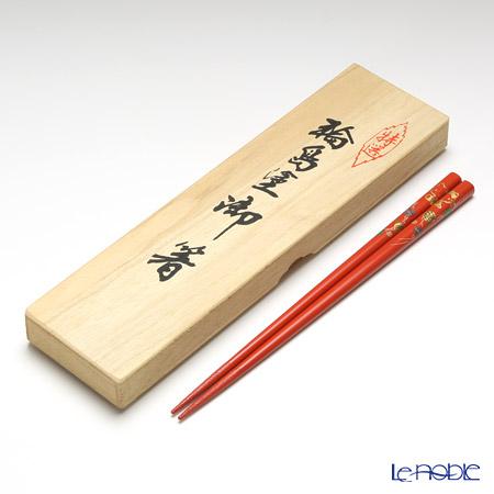 【伝統工芸】輪島塗 御箸 ハローキティ てまり蒔絵 朱 22.5cm 【桐箱付】
