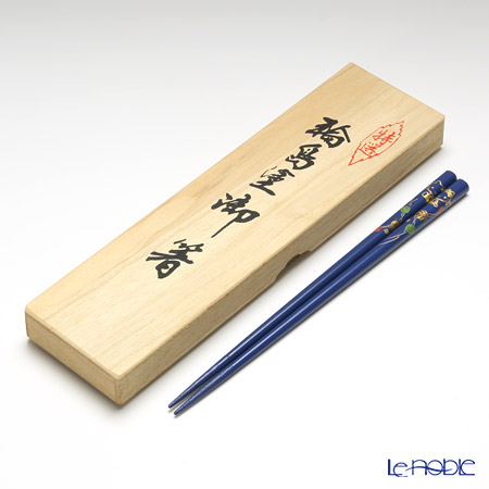 【伝統工芸】輪島塗 御箸 ハローキティ てまり蒔絵 青 22.5cm 【桐箱付】