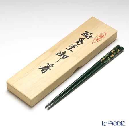 【伝統工芸】輪島塗 御箸 ハローキティ てまり蒔絵 緑 22.5cm 【桐箱付】