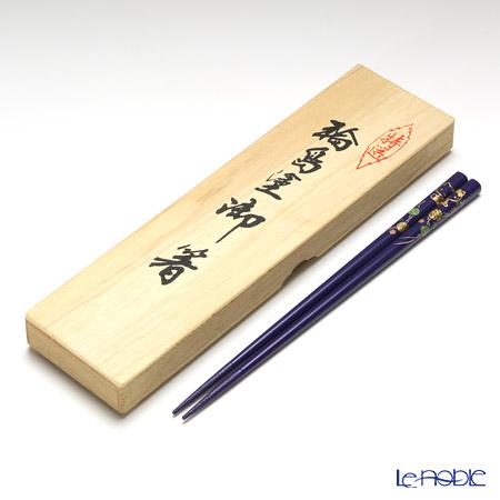 【伝統工芸】輪島塗 御箸 ハローキティ てまり蒔絵 紫 22.5cm 【桐箱付】