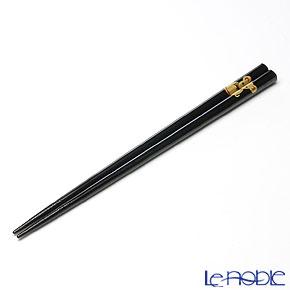 【伝統工芸】輪島塗 干支箸 子(ね) 黒(大) 22.5cm