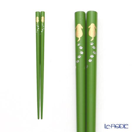 Wajima Lacquerware 'Walking Dog' Green Chopsticks 19cm