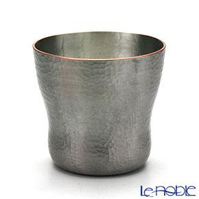 【伝統工芸】燕鎚起銅器(純銅) ロックカップ 白銀 刃鎚目 Cu-5
