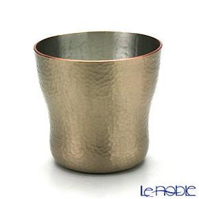 【伝統工芸】燕鎚起銅器(純銅) ロックカップ 白金 刃鎚目 Cu-6