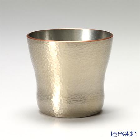 【伝統工芸】燕鎚起銅器(純銅) ロックカップ 白金 刃鎚目(小) Cu-10