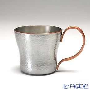 【伝統工芸】燕鎚起銅器(純銅) 手付きロックカップ(小) 白銀 刀槌目 Cu-9-1