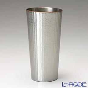 【伝統工芸】燕鎚起銅器(純銅) タンブラー ストレート 十草文 白銀 Cu-S-1