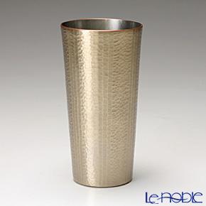 【伝統工芸】燕鎚起銅器(純銅) タンブラー ストレート 線条文 白金 Cu-S-2
